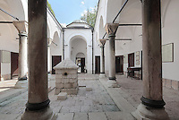 The Kurshumli Madrasa, now a museum, at the Gazi Husrev-beg Mosque, built 1530-32, Sarajevo, Bosnia and Herzegovina. The complex includes a maktab and madrasa (Islamic primary and secondary schools), a bezistan (vaulted marketplace)and a hammam. The mosque complex was renovated after damage during the 1992 Siege of Sarajevo during the Yugoslav War. Picture by Manuel Cohen