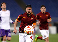 Calcio, Europa League: Ritorno degli ottavi di finale Roma vs Fiorentina. Roma, stadio Olimpico, 19 marzo 2015.<br /> Roma's Daniele Verde eyes the ball during the Europa League round of 16 second leg football match between Roma and Fiorentina at Rome's Olympic stadium, 19 March 2015.<br /> UPDATE IMAGES PRESS/Isabella Bonotto