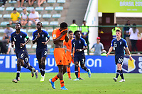 17th November 2019; Bezerrao Stadium, Brasilia, Distrito Federal, Brazil; FIFA U-17 World Cup football 3rd placed game 2019, Netherlands versus France; Jayden Braaf of Netherlands laments goal scored by  Arnaud Kalimuendo-Muinga of France in the 62nd minute 1-3 - Editorial Use