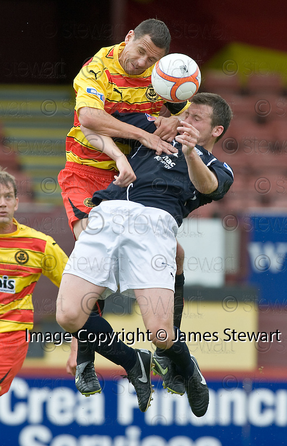 14/08/2010   Copyright  Pic : James Stewart.sct_jsp009_partick_th_v_dundee  .::  JOHN ROBERTSON AND CRAIG MCKEOWN GO FOR THE BALL ::.James Stewart Photography 19 Carronlea Drive, Falkirk. FK2 8DN      Vat Reg No. 607 6932 25.Telephone      : +44 (0)1324 570291 .Mobile              : +44 (0)7721 416997.E-mail  :  jim@jspa.co.uk.If you require further information then contact Jim Stewart on any of the numbers above.........