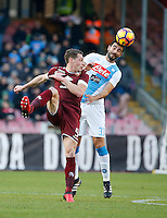Andrea Belotti  and Raul Albiol  during the  italian serie a soccer match,between SSC Napoli and Torino       at  the San  Paolo   stadium in Naples  Italy , December 18, 2016