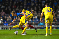 Cameron McGeehan of Portsmouth tangles with Mitch Pinnock of AFC Wimbledon during Portsmouth vs AFC Wimbledon, Sky Bet EFL League 1 Football at Fratton Park on 11th January 2020