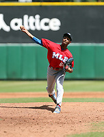 Jerming Rosario participates in the MLB International Showcase at Estadio Quisqeya on February 22-23, 2017 in Santo Domingo, Dominican Republic.