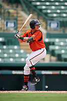 GCL Orioles catcher Alfredo Gonzalez (34) at bat during a game against the GCL Rays on July 21, 2017 at Ed Smith Stadium in Sarasota, Florida.  GCL Orioles defeated the GCL Rays 9-0.  (Mike Janes/Four Seam Images)