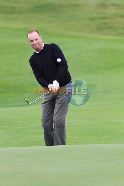Day one of the Irish PGA championship at Seapoint Golf Club,.Greg Massey PGA National Ireland on the 18th..Picture Fran Caffrey/www.golffile.ie.