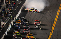 Feb 07, 2009; Daytona Beach, FL, USA; NASCAR Sprint Cup Series driver Greg Biffle (16) crashes during the Bud Shootout at Daytona International Speedway. Mandatory Credit: Mark J. Rebilas-