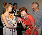 Julie White and A.R. Gurney attend the Dog Auditions for a Cameo in Broadway's 'Sylvia' held at the Daryl Roth Theatre on August 3, 2015 in New York City.