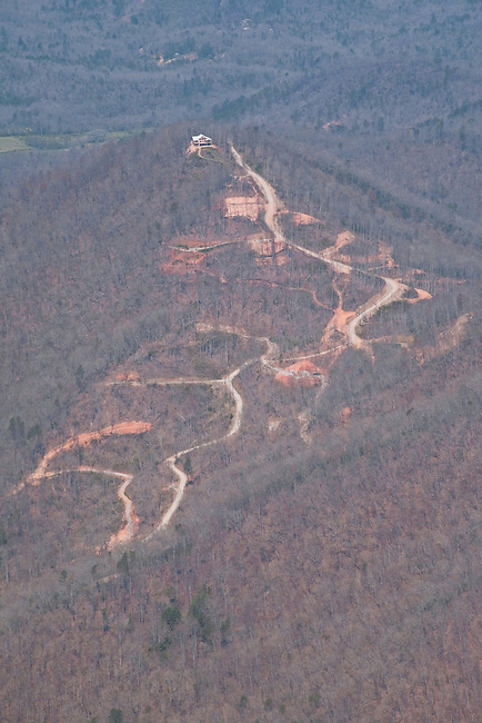 Steep slope development, an environmentally destructive practice, Macon County, flight by SouthWings