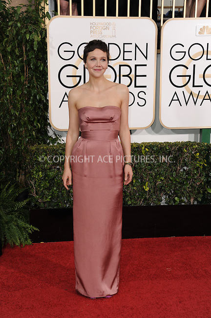WWW.ACEPIXS.COM<br /> <br /> January 11 2015, LA<br /> <br /> Maggie Gyllenhaal arriving at the 72nd Annual Golden Globe Awards at The Beverly Hilton Hotel on January 11, 2015 in Beverly Hills, California. <br /> <br /> <br /> By Line: Peter West/ACE Pictures<br /> <br /> <br /> ACE Pictures, Inc.<br /> tel: 646 769 0430<br /> Email: info@acepixs.com<br /> www.acepixs.com