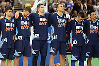Team Bosnia & Herzegovina during the Nation Anthems during the EuroBasket 2015 2nd Qualifying Round Great Britain v Bosnia & Herzegovina (Euro Basket 2nd Qualifying Round) at Copper Box Arena in London. - 13/08/2014