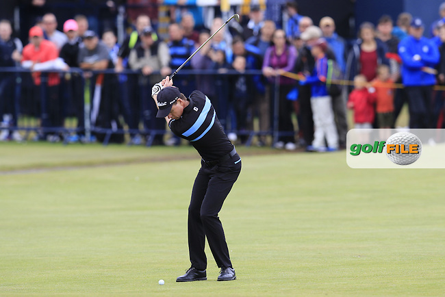 Brett Rumford (AUS) plays his 2nd shot on the 18th hole during Monday's Final Round of the 144th Open Championship, St Andrews Old Course, St Andrews, Fife, Scotland. 20/07/2015.<br /> Picture Eoin Clarke, www.golffile.ie