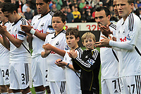 Pictured: (L-R) Neil Taylor, Ashley Williams, Leon Britton, Scott Sinclair and Mark Gower of Swansea City. Saturday 17 September 2011<br />