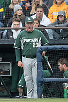 Michigan State Spartans head coach Jake Boss Jr. (23) yells at an umpire during the game against the Michigan Wolverines on May 19, 2017 at Ray Fisher Stadium in Ann Arbor, Michigan. Michigan defeated Michigan State 11-6. (Andrew Woolley/Four Seam Images)