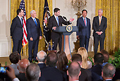 Speaker of The US House Paul Ryan (Republican of Wisconsin) speaks during the announcement at The White House in Washington, DC, of the creation of a Foxconn Factory to be built in Wisconsin to build LCD flat screen monitors, July 26, 2017.  With Ryan, from left to right, are Governor Scott Walker (Republican of Wisconsin), US Vice President Mike Pence,  Foxconn CEO Terry Gou and US Senator Ron Johnson (Republican of Wisconsin).<br /> Credit: Chris Kleponis / CNP