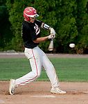WATERTOWN,  CT-071018JS10-- Oakville's  Maxwell Chabot (9) rips a base hit during their Zone 5 American Legion game against Naugatuck Tuesday at the Taft School in Watertown. <br />  Jim Shannon Republican American