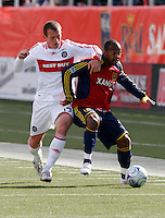 Chad Barrett (19) of the Chicago Fire and Andy Williams (77) of Real Salt Lake. The Chicago Fire and Real Salt Lake played to a 1-1 tie during a Major League Soccer match at Rice-Eccles Stadium in Salt Lake City, Utah on March 29, 2008.