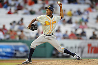 Montgomery Biscuits pitcher Frank De Los Santos #40 delivers a pitch during the Southern League All-Star Game  at Smokies Park on June 19, 2012 in Kodak, Tennessee.  The South Division defeated the North Division 6-2. (Tony Farlow/Four Seam Images).