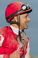 ARCADIA, CA  APRIL 7:  Mike Smith is all smiles after winning the Santa Anita Oaks (Grade l) on April 7, 2018, at Santa Anita Park in Arcadia, Ca.  (Photo by Casey Phillips/ Eclipse Sportswire/ Getty Images)