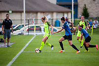 Kansas City, MO - Saturday June 17, 2017: Beverly Yanez, Yael Averbuch, Desiree Scott during a regular season National Women's Soccer League (NWSL) match between FC Kansas City and the Seattle Reign FC at Children's Mercy Victory Field.