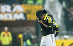 Solna 2015-03-07 Fotboll Allsvenskan AIK - Hammarby IF :  <br /> AIK:s Dickson Etuhu deppar under matchen mellan AIK och Hammarby IF <br /> (Foto: Kenta J&ouml;nsson) Nyckelord:  AIK Gnaget Friends Arena Svenska Cupen Cup Derby Hammarby HIF Bajen depp besviken besvikelse sorg ledsen deppig nedst&auml;md uppgiven sad disappointment disappointed dejected