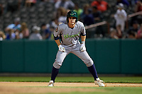 Vermont Lake Monsters pinch runner Adrian Spitz (5) leads off first base during a game against the Tri-City ValleyCats on June 16, 2018 at Joseph L. Bruno Stadium in Troy, New York.  Vermont defeated Tri-City 6-2.  (Mike Janes/Four Seam Images)