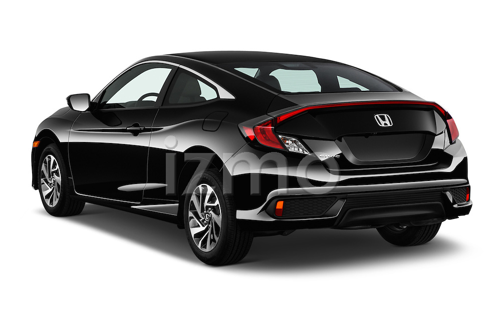 Car pictures of rear three quarter view of 2018 Honda Civic LX 3 Door Coupe Angular Rear