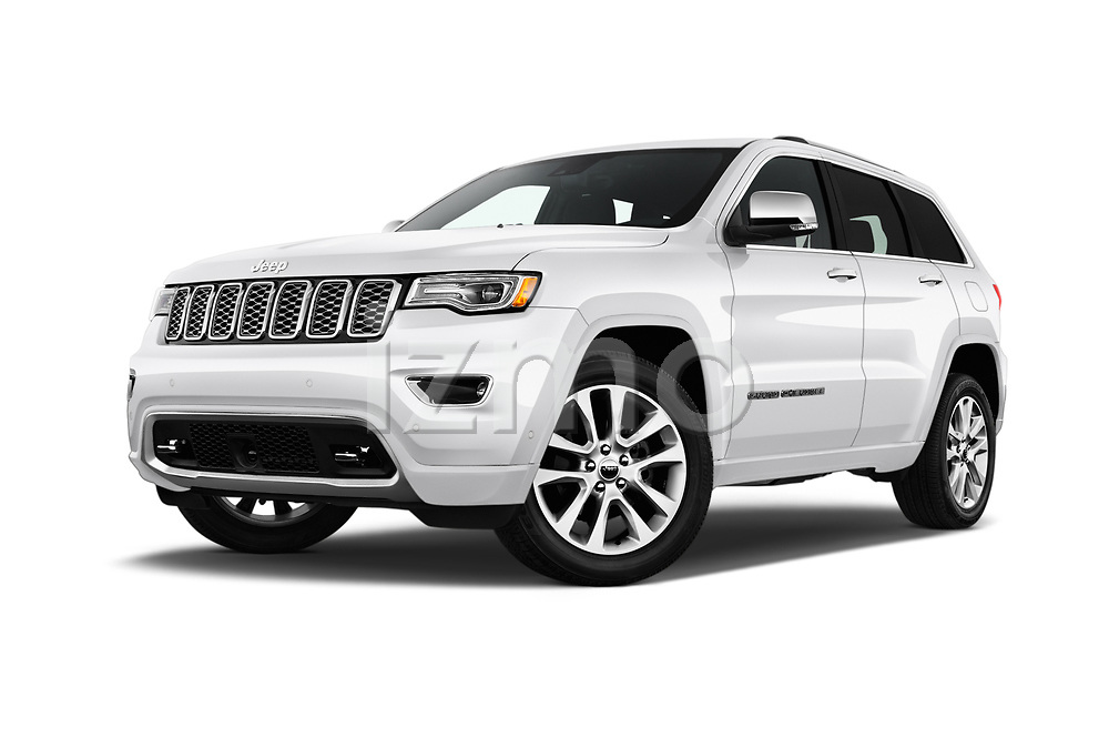 Stock pictures of low aggressive front three quarter view of a 2017 Jeep Grand Cherokee Overland 5 Door SUV