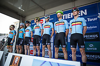 A strong Team Belgian on the pre race sign in podium. <br /> <br /> Baloise Belgium Tour 2017 (2.HC)<br /> Stage 5: Tienen - Tongeren 169.6km