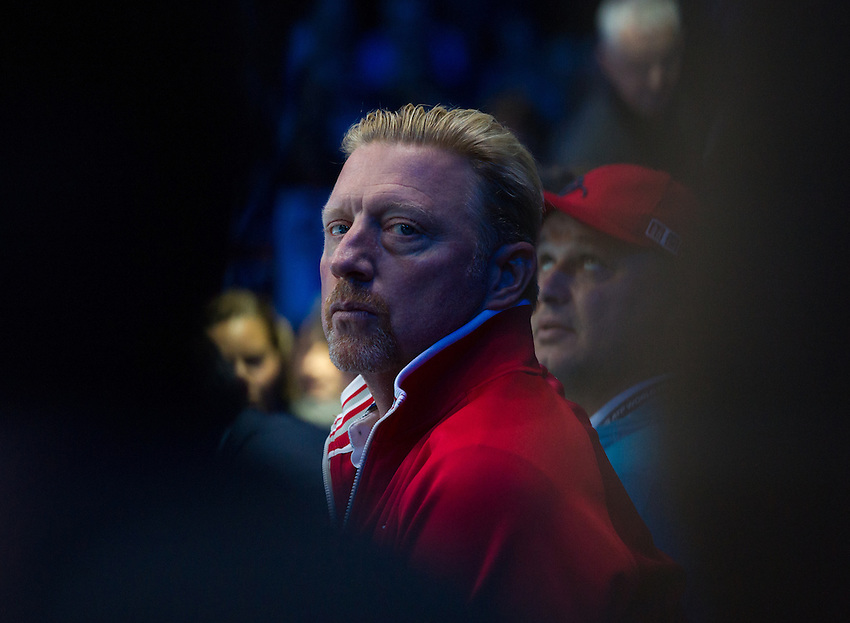 Boris Becker, Coach of Novak Djokovic before the game against Andy Murray of Great Britain in their men&rsquo;s singles Final match today - Andy Murray def Novak Djokovic 6-3, 6-4<br /> <br /> Photographer Ashley Western/CameraSport<br /> <br /> International Tennis - Barclays ATP World Tour Finals - Day 8 - Sunday 18th November 2016 - O2 Arena - London<br /> <br /> World Copyright &copy; 2016 CameraSport. All rights reserved. 43 Linden Ave. Countesthorpe. Leicester. England. LE8 5PG - Tel: +44 (0) 116 277 4147 - admin@camerasport.com - www.camerasport.com