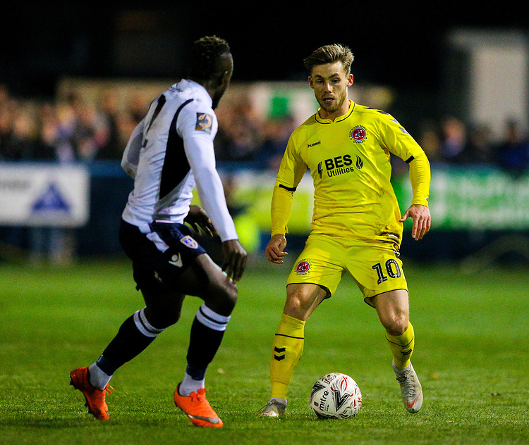 Fleetwood Town's Conor McAleny takes on Guiseley's Cliff Moyo<br /> <br /> Photographer Alex Dodd/CameraSport<br /> <br /> The Emirates FA Cup Second Round - Guiseley v Fleetwood Town - Monday 3rd December 2018 - Nethermoor Park - Guiseley<br />  <br /> World Copyright © 2018 CameraSport. All rights reserved. 43 Linden Ave. Countesthorpe. Leicester. England. LE8 5PG - Tel: +44 (0) 116 277 4147 - admin@camerasport.com - www.camerasport.com