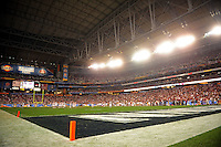 Jan. 1, 2011; Glendale, AZ, USA; Overall view of University of Phoenix Stadium during the game between the Oklahoma Sooners against the Connecticut Huskies in the 2011 Fiesta Bowl. The Sooners defeated the Huskies 48-20. Mandatory Credit: Mark J. Rebilas-