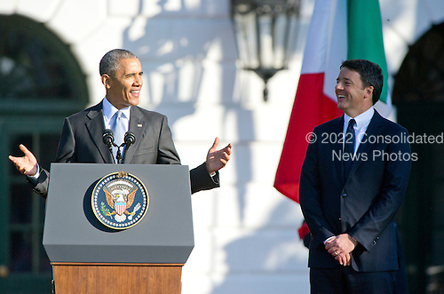 United States President Barack Obama makes remarks as he hosts an arrival ceremony at the start of an Official Visit in honor of Prime Minister Matteo Renzi, right, and Mrs. Agnese Landini of Italy on the South Lawn of the the White House in Washington, DC on Tuesday, October 18, 2016. <br /> Credit: Ron Sachs / CNP
