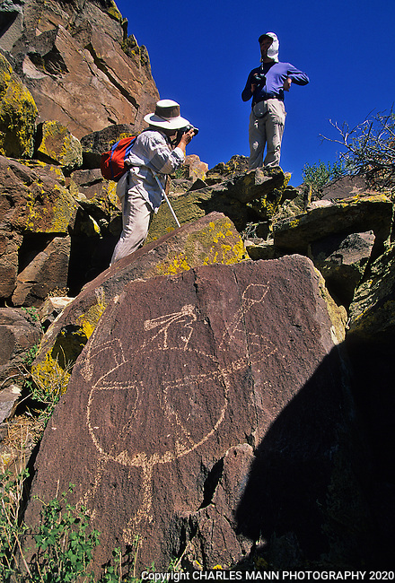 A field trip to see rock art can be an study in experiencing the past up close and persona, as seen by these shield man petroglyphs in the Galesteo River Basin near the village of Galesteo, New Mexic,o a few miles from Santa Fe.