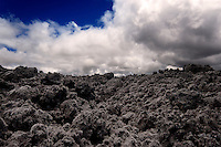 A volcanic landscape along Saddle Road on the Big Island of Hawaii.