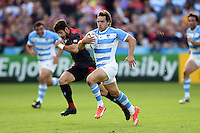 Nicolas Sanchez of Argentina goes on the attack. Rugby World Cup Pool C match between Argentina and Georgia on September 25, 2015 at Kingsholm Stadium in Gloucester, England. Photo by: Patrick Khachfe / Onside Images