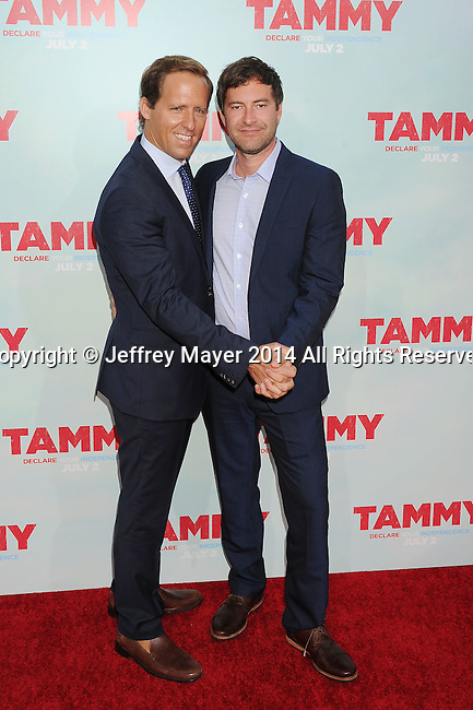 HOLLYWOOD, CA- JUNE 30: Actors Nat Faxon (L) and Mark Duplass arrive at the 'Tammy' - Los Angeles Premiere at TCL Chinese Theatre on June 30, 2014 in Hollywood, California.