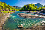 Bird Creek with green forest. Chugach Mountains in the background. Chugach State Park, Southcentral Alaska, Spring.