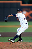 Buies Creek Astros relief pitcher Carlos Sanabria (28) in action against the Winston-Salem Dash at Jim Perry Stadium on August 15, 2018 in Buies Creek, North Carolina.  The Astros defeated the Dash 5-0.  (Brian Westerholt/Four Seam Images)