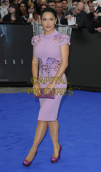Salma Hayek.The 'Prometheus' world film premiere, Empire cinema, Leicester Square, London, England..May 31st, 2012.full length purple dress emebellished jewel encrusted lilac clutch bag shoes .CAP/CAN.©Can Nguyen/Capital Pictures.