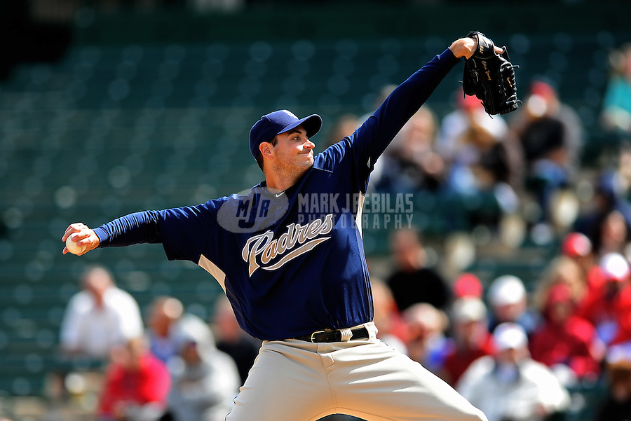 Mar. 9, 2010; Tempe, AZ, USA; San Diego Padres pitcher Chris Young throws against the Los Angeles Angels at Tempe Diablo Stadium. Mandatory Credit: Mark J. Rebilas-