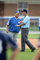 April 15,2010:  Tom Kenney of the Alfred State Pioneers argues a call in a game vs. Genesee Community College (GCC) at Dwyer Stadium in Batavia, NY.  Photo Copyright Mike Janes Photography 2010