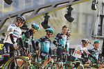 Bora-Hansgrohe on stage at the team presentation in Antwerp before the start of the 2019 Ronde Van Vlaanderen 270km from Antwerp to Oudenaarde, Belgium. 7th April 2019.<br /> Picture: Eoin Clarke | Cyclefile<br /> <br /> All photos usage must carry mandatory copyright credit (&copy; Cyclefile | Eoin Clarke)