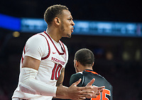 NWA Democrat-Gazette/BEN GOFF @NWABENGOFF <br /> Daniel Gafford of Arkansas reacts after being charged with a foul in the second half vs Tusculum Friday, Oct. 26, 2018, during an exhibition game in Bud Walton Arena in Fayetteville.
