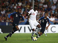 Football: Uefa under 21 Championship 2019, England - France, Dino Manuzzi stadium Cesena Italy on June18, 2019.<br /> England's Tammy Abraham (c) in action with France's Olivier Ntcham (l) and Colin Dagba (r) during the Uefa under 21 Championship 2019 football match between England and France at Dino Manuzzi stadium in Cesena, Italy on June18, 2019.<br /> UPDATE IMAGES PRESS/Isabella Bonotto