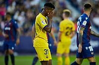 2nd November 2019; Estadi Ciutat de Valencia, Valencia, Spain; La Liga Football, Levante versus FC Barcelona; Ansu Fati of FCB reacts to his yellow card - Editorial Use