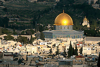 A view of the spectacular Muslim shrine the Dome of the Rock, with the Church of Mary Magdalene in the background as seen from the Tower of David in the Old city of Jerusalem. The bedrock outcropping in the center of the dome is the spot from which Muslims believe Muhammad ascended for a nightlong journey to Heaven in CE 621. According to the sages of the Talmud, the same rock was where the world was created, and is the most sacred site in traditional Judaism.