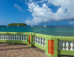 Vieques Island, Puerto Rico<br /> Morning sun on the promonade along the Esperanza harbor