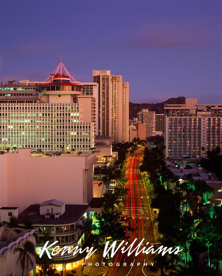 Waikiki at Night, Honolulu, Oahu, Hawaii, USA.