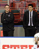 Matt Nareski (Northeastern - Equipment Manager), Rob Rassey - The visiting Rensselaer Polytechnic Institute Engineers tied their host, the Northeastern University Huskies, 2-2 (OT) on Friday, October 15, 2010, at Matthews Arena in Boston, MA.