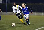 2018-02-17 / Voetbal / Seizoen 2017-2018 / Nijlen - Esp Pelt / Junior Ebobo met Jonas De Cnaep (r. Nijlen)<br /> <br /> ,Foto: Mpics.be